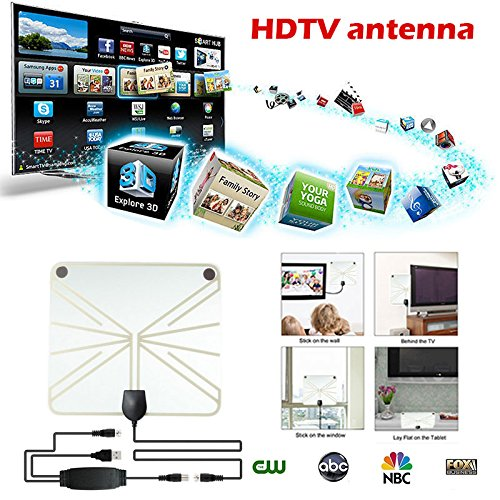 Jiayuane 50 Mile Range TV Antenne, HDTV Thin Indoor Antenne HDTV Antenne Indoor HDTV Antenne Signalempfänger (100 Mile Indoor-tv-antenne)