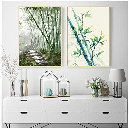 JinYiGlobal Leinwand Kunstdruck Wandbild Für Wohnzimmer Dekoration Wandkunst Poster Grünpflanze bambus-50x70 cm Kein Rahmen