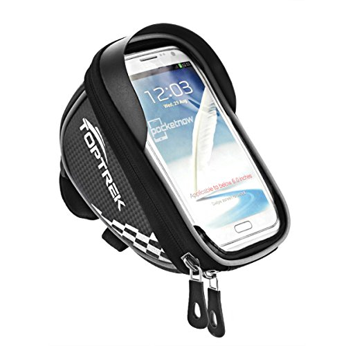 Waterproof Bike Frame Bag Cycling Pouch Cell Phone Touch Screen Holder Front Top Tube Handlebar Bags - Sliver