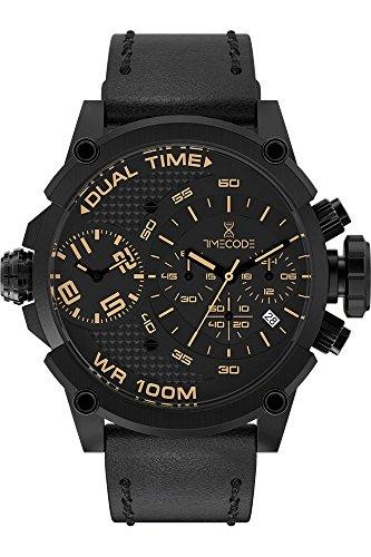 Timecode Orologio Cronografo Quarzo Uomo con Cinturino in Pelle TC-1002-25