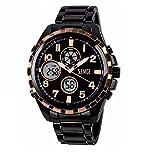 ZEMGE Hombres Reloj De Cuarzo AnalóGico Cronógrafo Fecha Digital Deportivo Gran Caso negocio impermeable negro multifunción de diseño clásico tono con caja de acero inoxidable DW Boss ZC0101