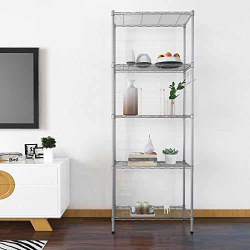 BATHWA Regal Küchenregal Steckregal Standregal Metall mit 5 regalböden für Garage, Küchen L54 x W29 x H158cm, Silber