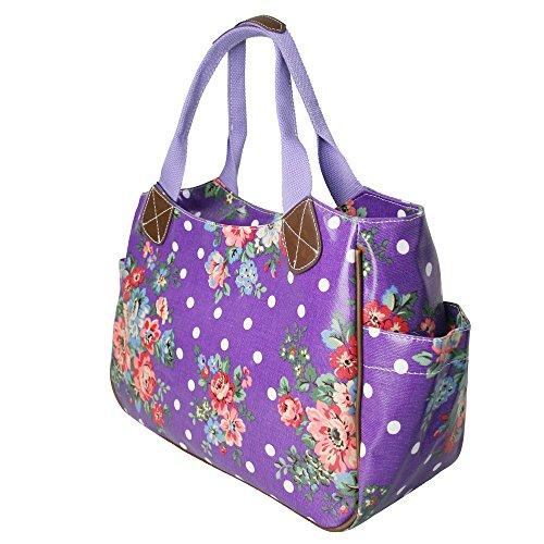 Miss Lulu-Tela cerata da donna, motivo floreale, da bambina, motivo: gufo a pois con farfalla Day Borsa Shopper Borsa da viaggio (Fiore viola)