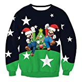 Blue Vessel Unisex Womens Mens Christmas Pattern Knitted Santa Clause Jumper Sweater Tops Xmas (L, 7#)