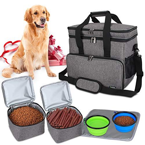 Teamoy Borsa da Viaggio per Dog Gear, Borsa da Viaggio per Cani con 2 Ciotole Pieghevoli in Silicone, 2 contenitori per Alimenti, 1 Tappetino per Le Ciotole (Grande, Grigio)