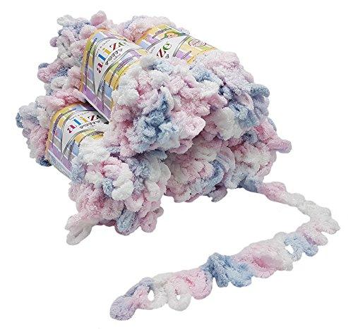 5 x 100 Gramm Strickwolle Alize Puffy Color, 500 Gramm Fingerstrick - Wolle mehrfarbig super bulky, Schlaufenwolle, Stricken ohne Nadel (weiß rosa blau 5864)