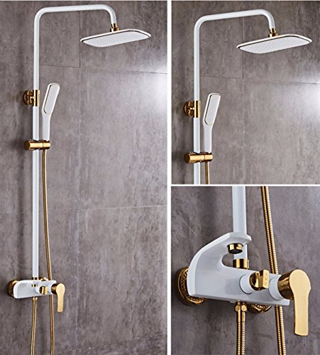 SJQKA Handbrause Europäische Luxus - Schwarzes Gold Weiße Dusche Jeden Kupfer Vergoldet Badezimmer Dusche Anzug,A Dusche Massage Gold
