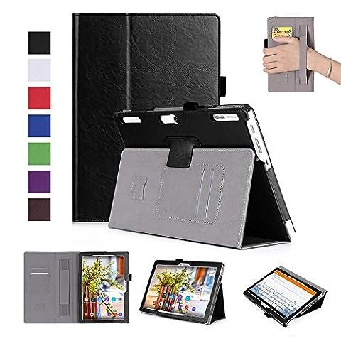 ISIN Housse pour Tablette Série Étui Premium PU avec Support pour Lenovo Tab 2 A10 de 10.1 pouces A10-30 A10-70 X30F Tablette Avec Sangle Velcro et Slot Cartes (Noir)