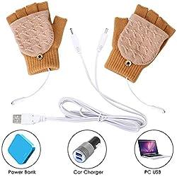 Yinuoday unisexe usb gants chauffants mitaines pour hommes ou femmes hiver haft & plein doigts sans doigts à tricoter gants chauds gants d'ordinateur portable