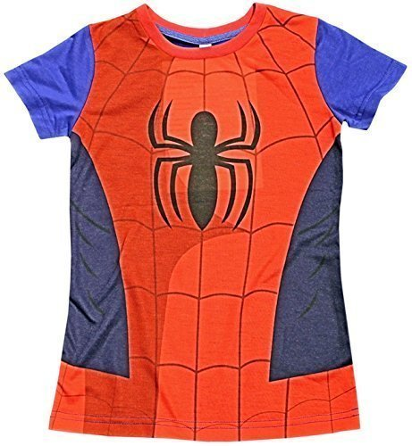 Kinder Umhang T-Shirt Superheld Jungen Kostüm Iron Man Superman Batman Official Starwars Marvel Avengers Verschiedene Größen - Spiderman T-Shirt, Größe (Marvel Offiziell Kostüme Lizenziert)