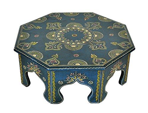 Main peint tabouret design petite table en bois 43 x 43 x 15 cm
