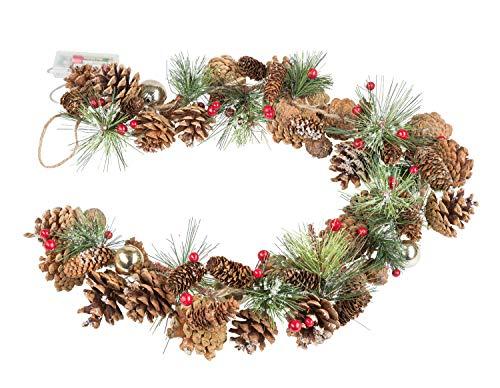 Ghirlanda natalizia con pigne e 10 led in bianco caldo, funzione timer per 6 ore, funzionamento a batteria, per natale, decorazione, luce d'atmosfera, circa 1 m