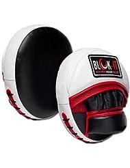 Manoplas de Enfoque por Blok-iT – Manoplas de Boxeo Pro. Mejore su Velocidad, Aptitud Física y Poder deGolpeo. Altamente Durables Absorberán Golpes de Alto Impacto. (Blanco y Rojo)