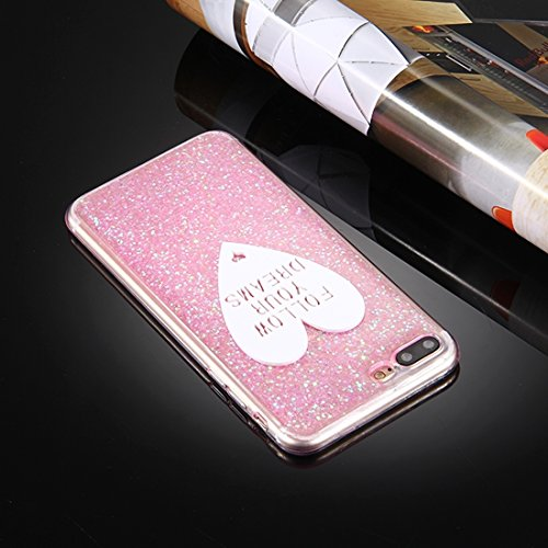 Pour iPhone 7 Plus Glitter Powder Mots en forme de coeur Pattern Soft TPU Protective Case JING ( Color : Pink ) Pink