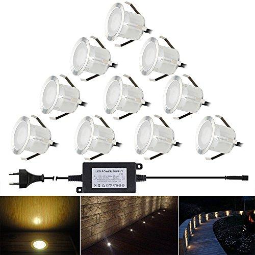 FVTLED 10er Set LED Bodeneinbaustrahler Aussen Ø32mm 0.6W IP67 Wasserdicht LED Lampe Boden Einbauleuchten