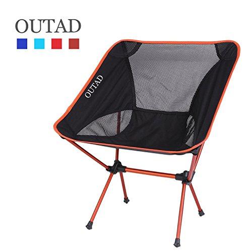 OUTAD Klappstuhl bequemer Strandstuhl Freizeitstuhl Camping Stuhl Outdoor Faltstuhl für Angeln, Picknick und Camping im Freien robustes 600D Oxford Gewebe Maximale Lager 150kg (orange)