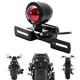WASTUO Luz trasera universal de motocicleta con soporte marco matrícula Moto DRL Indicador Lámpara Piloto Trasero 12V 20W.