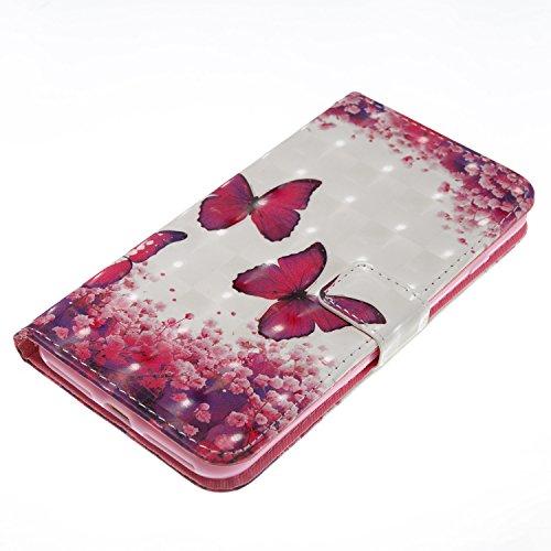 EUWLY Case Cover per iPhone 7 Plus/iPhone 8 Plus (5.5) Custodia Portafoglio PU Pelle Libro Flip Wallet Protettivo Case Cover Glitter Bling Brillante Pelle Custodia Premium Morbido PU Leather Portafog Farfalla Rosa Caldo