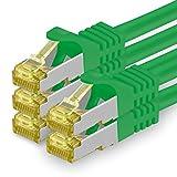 1aTTack.de Cat.7 Netzwerkkabel 5m - Grün - 5 Stück - Cat7 Ethernetkabel Netzwerk LAN Kabel Rohkabel 10 Gb/s (Sftp Pimf) Set Patchkabel mit Rj 45 Stecker Cat.6a