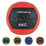 MSPORTS Wall-Ball Premium Gewichtsball 2-10 kg Medizinball (10 kg - Rot)