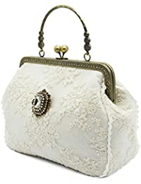 Tote Bag Shoulder Bag Crossbody Bag For Women Cotton Fabric Lace Covered Removable Rhinestone Ornament Small White...