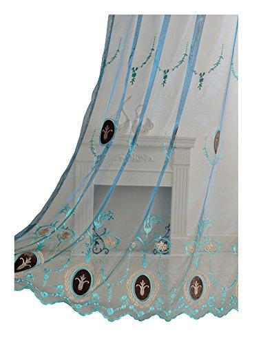BW0057 Klassische Europern Stil Sheer Gardine Retro Muster Bestickt Fenster Behandlung für Schlafzimmer Wohnzimmer (1 Panel, B 127 x L 213,4 cm, blau) 1300416C3BYABU15084-8505 - Elfenbein Öse Spitze