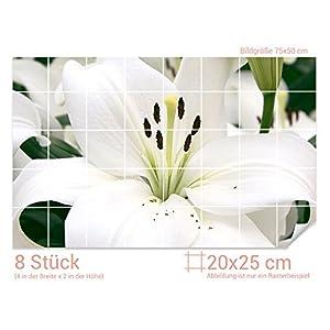 Graz Design 761390_20x25_50 Fliesenaufkleber Weiße Lilie für Kacheln | Bad-Fliesen mit Fliesenbildern überkleben (Fliesenmaß: 20x25cm (BxH)//Bild: 75x50cm (BxH))