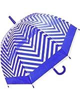 Unisex Chevron Pattern Automatic Open Dome Walking Umbrella