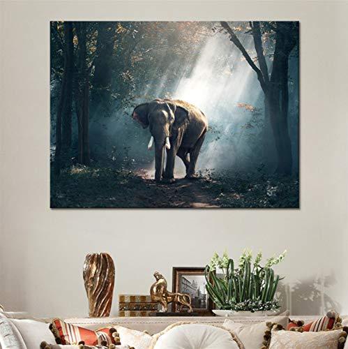 WACYDSD Puzzle 1000 Piezas Puzzle 3D Cartel De HD Decoración para El Hogar Elefante En El Bosque para Sala De Estar Arte De Pared Imágenes De Animales