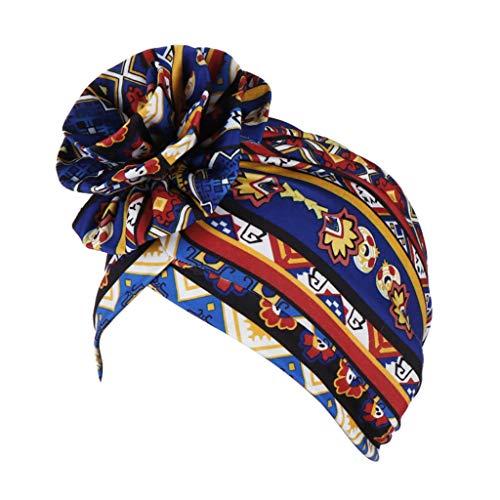 Fcostume Sonnenhut, Frauen gedruckt Floral Indien Hut muslimischen Rüschen Krebs Chemo Beanie Turban Wrap Cap - Floral Damen Hut Charme