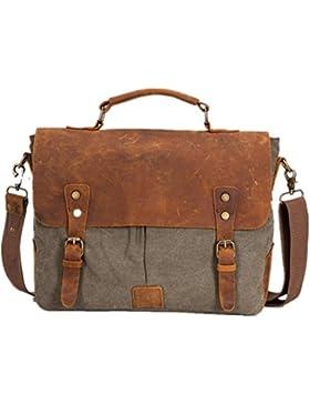 Aidonger Unisex Vintage Canvas und Leder Schultertasche Umhängetasche Laptoptasche