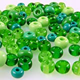70 große Rocailles Glasperlen 5-7mm Perlen Mix grün -749