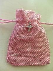 Idea Regalo - bomboniera battesimo nascita sacchetto rosa ciondolo ciuccio argento