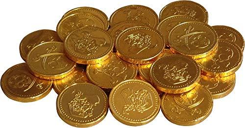 Cathys Candy Cart 50 x Goldfolie Piraten unter dem Thema Milchschokolade Geld Münzen Beute, Party Bag Füllstoffe, Pinata Preise, Ostereiersuche