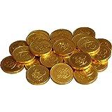 Cathys Candy Cart 50 x pièces d'argent au Chocolat au Lait sur Le thème des Pirates de la Feuille d'or: Butin, Sacs de fête, Prix Pinata, Chasse à l'oeuf de Pâques