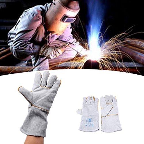 Hanbaili Schweißende Handschuhe, Hitzebeständiges feuerfestes Leder-Tig-Schweißer-Stulpen-Arbeits-Schweißens-Handschuhe (Stick-schweißen Handschuhe)