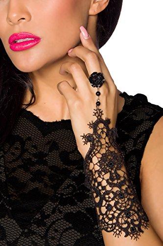 Kostüm Schwarzen Freitag - Gothik Handstulpe 1 Stück mit Spitze One Size (Einheitsgröße)