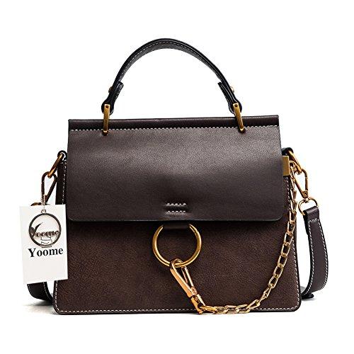 Yoome Women's Vintage Shoulder Bags Top Handle Handbags Elegant Ring Bag Color Blocking Purse - Coffee
