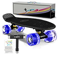 "XSPOLVE 22"" Complete Skateboard with Colorful LED Light Up Wheels for Kids,Youths, Beginners"