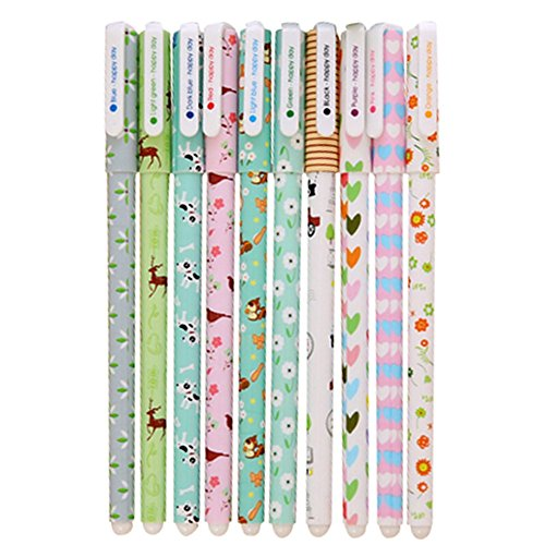 Leisial 10 Pack ofGel Ink Pens - Creative Cute Kawaii Stationery Colourful Highlighters (Multicoloured)