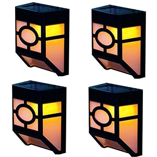 4 Stück LED Solarleuchte Außenleuchte Gartenleuchte Wandleuchte mit 2 LEDs und Warmweiß Licht für Garten Einfahrt Treppen Außenwand von NORDSD