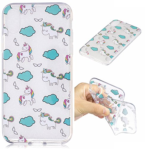 Custodia iphone X/ iphone 10 - Cover iphone X/ iphone 10 - Cozy Hut Case per iphone X/ iphone 10 [Ultra-Thin] Air Skin [Soft Clear] Premium Semi-transparent Super Lightweight, Custodia per iphone X/ i Nuvole unicorno