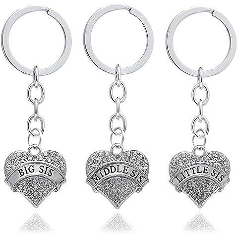 Confezione regalo da donna con grande cuore centrale Little Sister-Ciondolo pendente, anelli catena in lega, colore: argento trasparente Family Jewellery