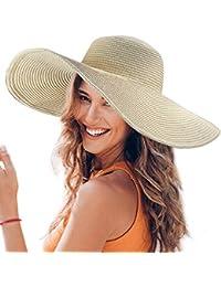 91a51d685e062 Dafunna Sombrero de Paja para Mujer de ala Ancha UPF 50+ Plegable Sombrero  de Sol