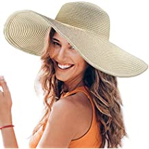 Dafunna Sombrero De Paja para Señoras Straw Sombrero Pamela De Sol Plegable  De ala Ancha para c02458b3a07
