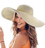 Dafunna Donne Cappello Tesa Larga Elegante Cappello Protezione UV Paglia da Cappello della Spiaggia Pieghevole Floscio Protezione Solare Cappello da Sole Estate (Beige)