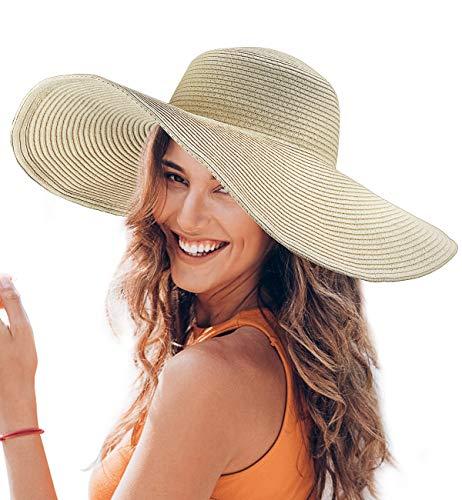 Dafunna Sombrero de Paja para Mujer de ala Ancha UPF 50+ Plegable Sombrero de Sol Color Sólido Playa Vacaciones (Beige)