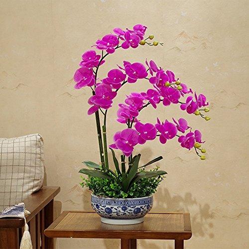 Jnseaol Kunstblumen Künstliche Blume Phalaenopsis Hotel Hochzeit Dekoration Blau Und Weiß Porzellan Topf Diy Urlaub Geschenk Lila-03