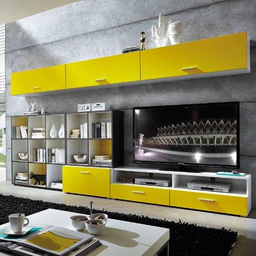 Wohnzimmer TV Unterschrank matt gelb – weiß Wohnwand Schrank Fernsehschrank - 3