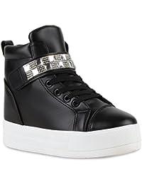 7b48870ed91ff2 Stiefelparadies Damen Sneaker Wedges mit Keilabsatz Plateau Vorne Flandell